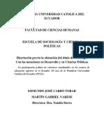 La participación política de colectivos estudiantiles en los centros de educación superior en el ecuador. El caso de la PUCE