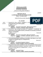 ORDINEA DE ZI a ședințelor în plen ale Parlamentului din 21 - 29 mai 2020