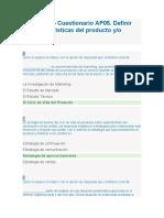 AP05-EV02- Cuestionario AP05 Definir las características del producto yo servicio