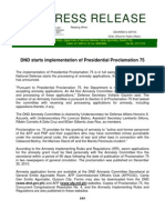 DND-OPA - Press Release - DND Starts Implementation of Proclamation No. 75 - 3 January 2010
