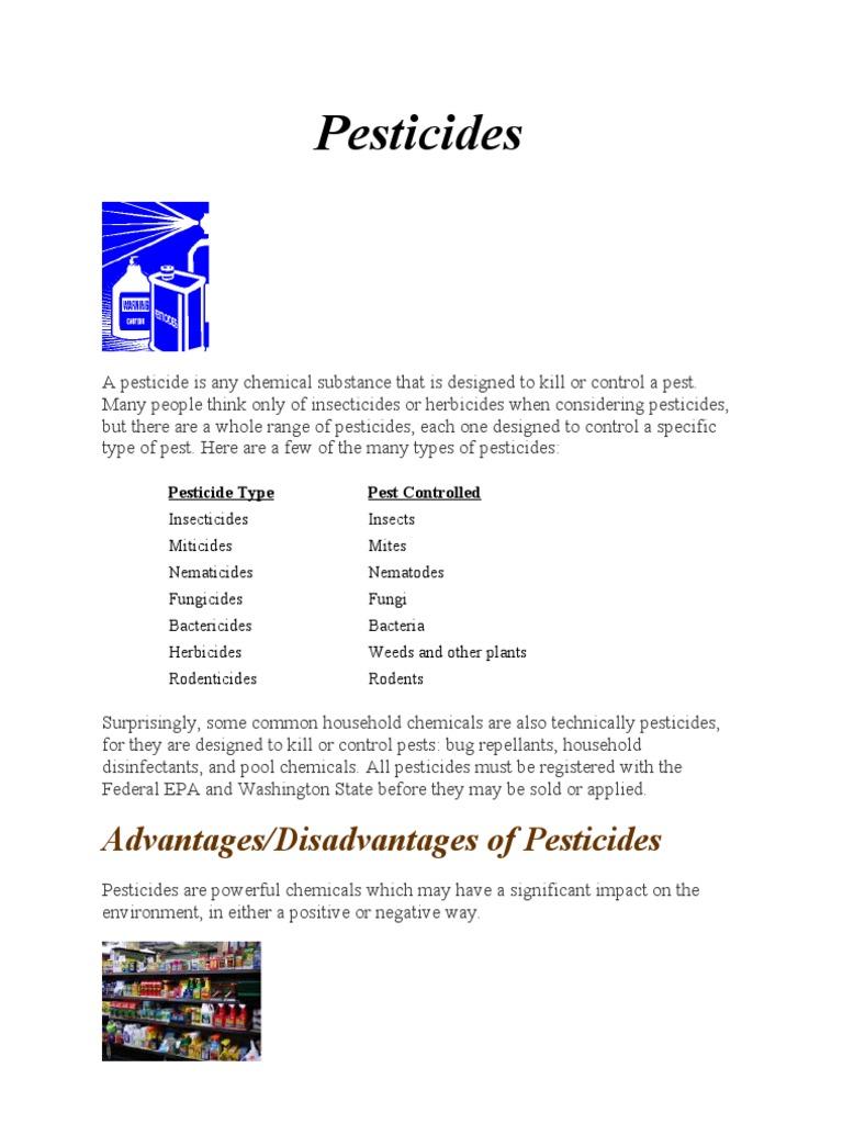 advantages and disadvantages of pesticides