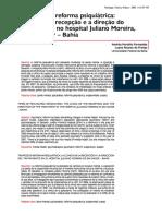 Tempos de reforma psiquiátrica - a clínica da recepção e a direção do tratamento no hospital Juliano Moreira, de Salvador – Bahia - Andréa Hortélio Fernandes & Luana Alvarez de Freitas