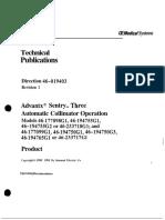 GE Advantx, Sentry Collimator - User Manual