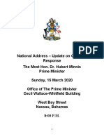 Prime Minister Minnis Special Address - COVID -19, 15 March, 2020 OPM