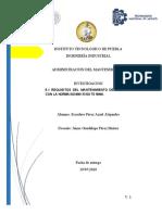 Requisitos de mantenimiento de acuerdo a las normas Iso 9001 y 16949