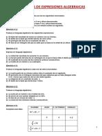 Expresiones algebraicas, ejercicios