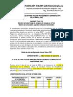 Modelo Acta de Informe Oral en Procedimiento Administrativo Sancionador - Autor José María Pacori Cari