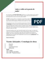 Temas recurrentes y estilo en la poesía de Vicente Aleixandre