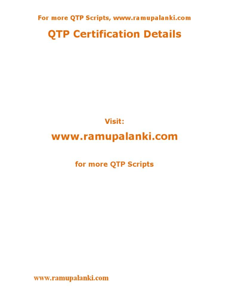 Qtp Certification Important Questions