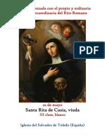 22 de Mayo. Santa Rita de Casia, viuda. Propio y Ordinario de la santa misa
