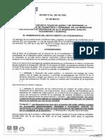 Decreto 282 de 2020 Toque de Queda en varias provincias de Cundinamarca