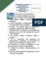 NORMAS MANIPULADORES DE ALIMENTOS