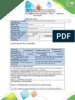 Guía de actividades y rúbrica de evaluación - Fase 7 - Elaborar el artículo