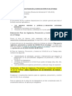 Plan de Vigilancia Prevención y Control de COVID