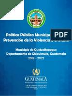 Politica publica municipal prevencion de la violencia 2019-2022 Quezaltepeque-Chiquimula