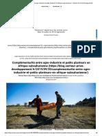 agro-industrie et petits planteurs en Afrique subsaharienne