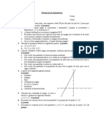 Evaluación de matemáticas funcion lineal tema 1