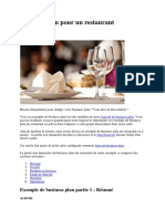 Business plan pour un restaurant