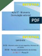 Aula 08 - Momento - formulação vetorial