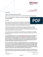 Ofcom Response to FOI Not Do Health Environmental and Health Impact of 5G Networks Research
