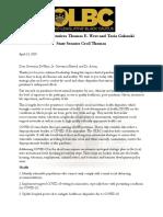 OLBC Letter to Gov. Mike DeWine (April 2020)