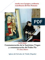 23 de Mayo.  Conmemoración en sábado de La Virgen María y  del Padre Pío. Propio y Ordinario de la Santa Misa