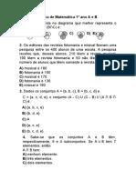 Prova de Matemática 1º ano, 1º bimestre