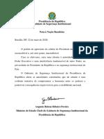 Nota à Imprensa - Nota à Nação Brasileira