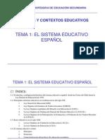 TEMA 1 El Sistema Educativo Espaxol PROCESOS Y CONTEXTOS