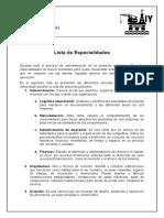 Especialidades (lista)