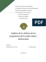 Análisis de los deberes de los progenitores de los niños niñas y adolescentes
