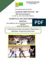 PLAN DE TRABAJO DE CONCURSO DE DANZA FOLKCLORICA 2016