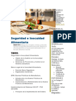 SEMINARIO DE GASTRONOMIA Seguridad e Inocuidad Alimentaria