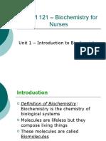 CHEM 121 Biochemistry for Nurses Unit 1