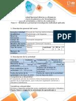 Guía de actividades y rúbrica de evaluación - Paso 5 - Sintetizar y presentar investigación individual aplicada
