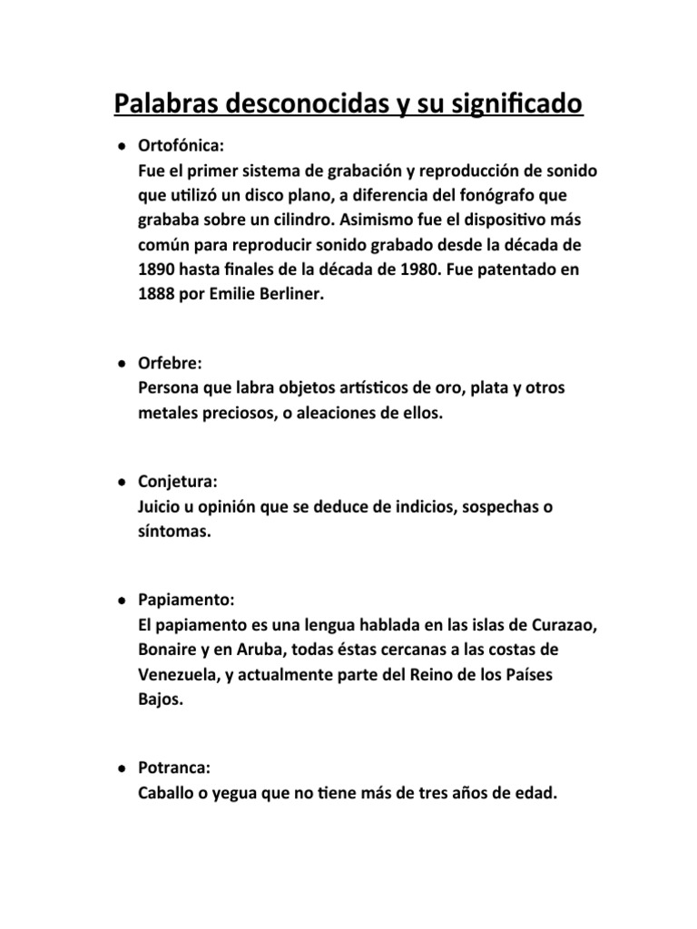 De palabras significado las Diccionario español