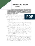 chapitre 2 PHYSIOLOGIE DE LA DIGESTION