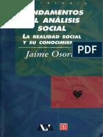 Jaime Osorio, Fundamentos del Análisis Social La realidad social y su conocimiento