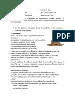 ACTIVIDAD DE COMPRENSION LECTORA .TRABAJO EN CASA