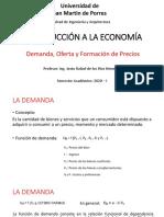 Demanda, Oferta y Formación de Precios - INTRODUCCIÓN A LA ECONOMÍA - USMP - VIRTUAL - 2020 - I