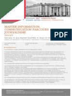 Master Information, communication Parcours Journalisme