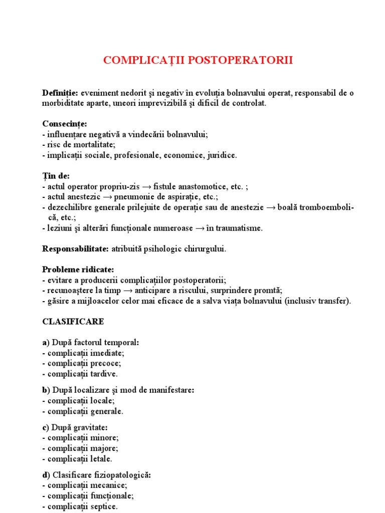 complicații postoperatorii ale varicozei