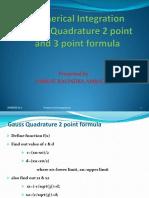 Gauss Quadrature 2 point and 3 point formula PDF