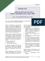 Burkina - Titres fonciers 2007