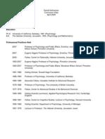 Bihavioral Finance Daniel Kahneman CV
