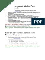 Eléments du dossier de création d'entreprise