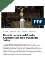 Homilía completa del padre Cantalamessa en la Pasión del Señor - Vatican News