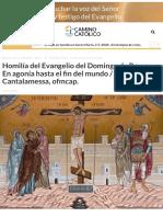 Homilía del Evangelio del Domingo de Ramos