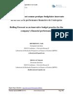 Le Rolling Forecast Comme Pratique Budgétaire Innovante Au Service de La Performance Financière de l'Entreprise