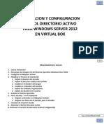 1. Instalación WIndows Server 2012 R2 con Virtual Box